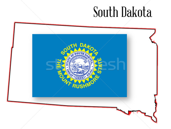 South Dakota State Map and Flag Stock photo © Bigalbaloo