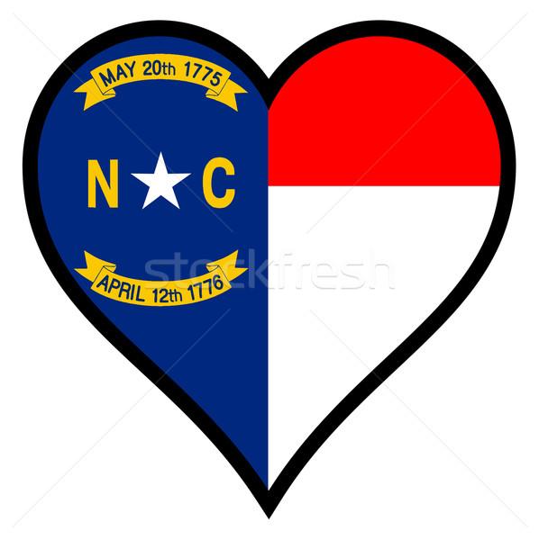 Szeretet Észak-Karolina zászló szív összes fehér Stock fotó © Bigalbaloo