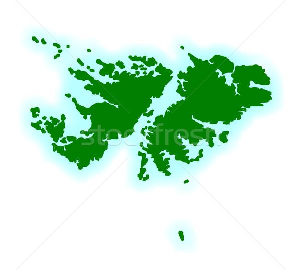 Falkland-szigetek skicc térkép rajz grafikus keret Stock fotó © Bigalbaloo