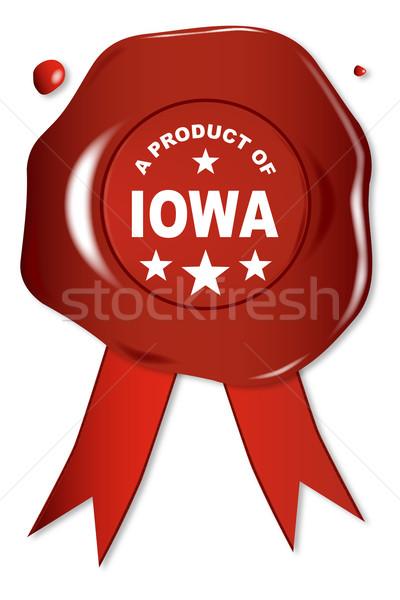 Termék Iowa viasz fóka szöveg piros Stock fotó © Bigalbaloo
