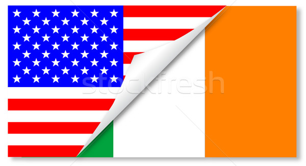 United States and Eire Flags Combined Stock photo © Bigalbaloo