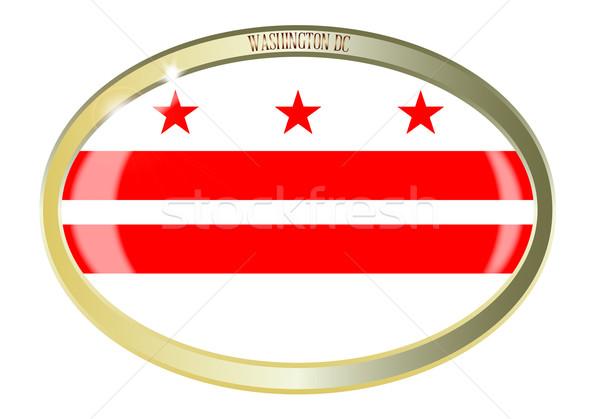 Zdjęcia stock: Washington · DC · banderą · owalny · przycisk · metal · odizolowany