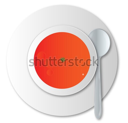 Sopa de tomate tigela prata colher branco comida Foto stock © Bigalbaloo