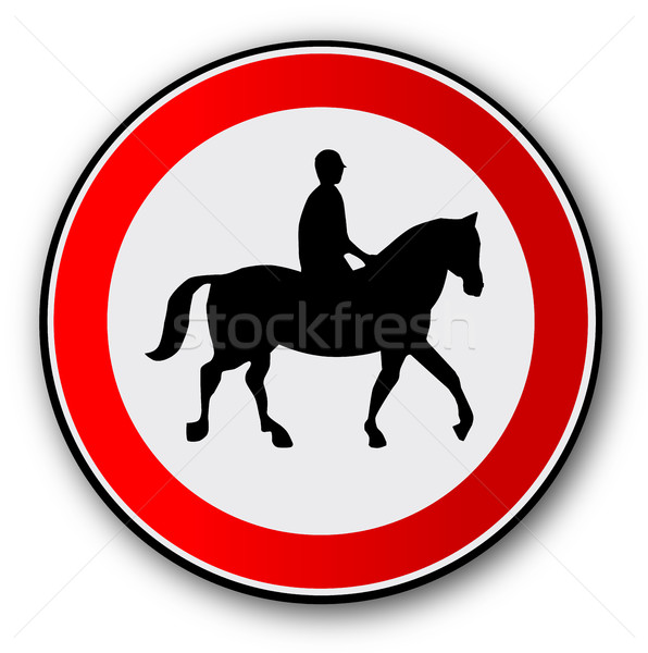 Horse and Rider Road Traffic Sign Stock photo © Bigalbaloo