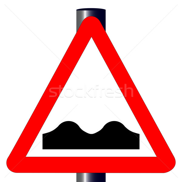 Irregolare segno tradizionale strada triangolo segnale di traffico Foto d'archivio © Bigalbaloo