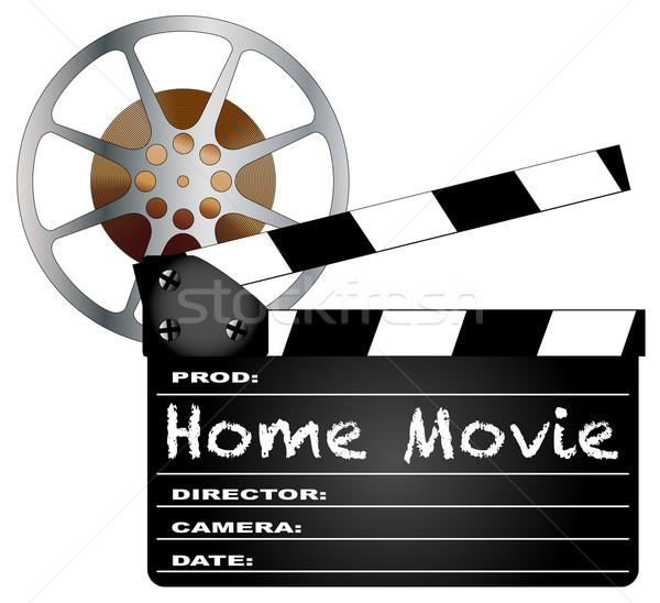 Home Movie Clapperboard and Reel Stock photo © Bigalbaloo