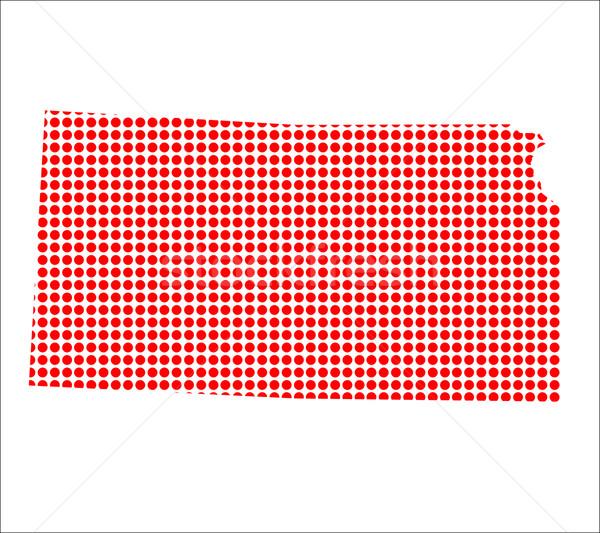 Kırmızı nokta harita Kansas arka plan Metal Stok fotoğraf © Bigalbaloo