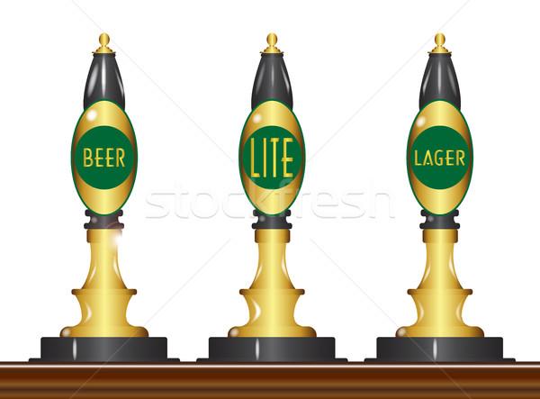 Yalıtılmış bira ayarlamak üç geleneksel tipik Stok fotoğraf © Bigalbaloo