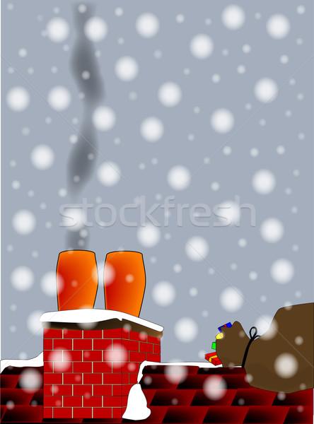 Natal chaminé fumador pote saco fundo Foto stock © Bigalbaloo