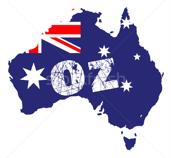 Outline map of Australia over a white background with flag inset and OZ Stock photo © Bigalbaloo