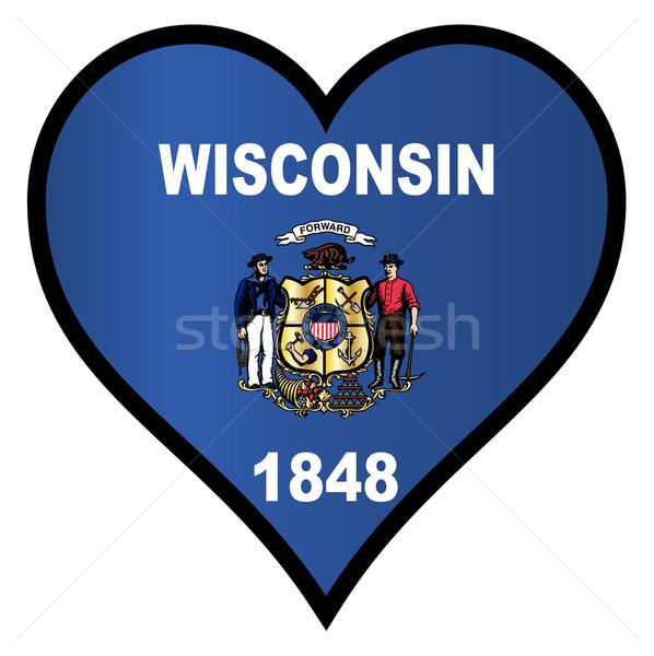 любви Висконсин флаг сердце белый Сток-фото © Bigalbaloo