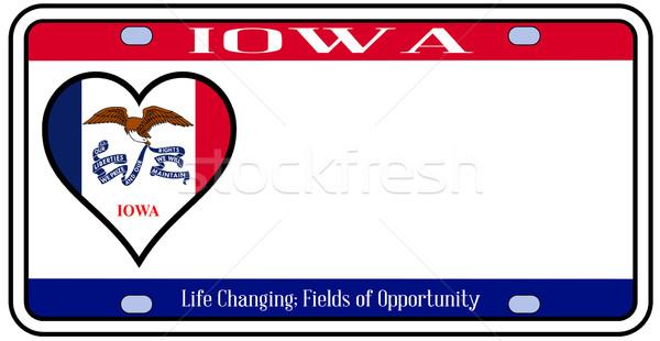 Iowa plaka renkler bayrak simgeler beyaz Stok fotoğraf © Bigalbaloo