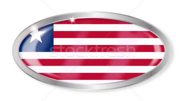 Liberya bayrak oval düğme gümüş yalıtılmış Stok fotoğraf © Bigalbaloo