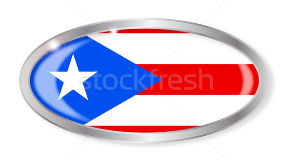 Пуэрто-Рико флаг овальный кнопки серебро изолированный Сток-фото © Bigalbaloo