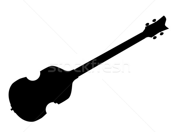 Violin Style Bass Guitar Silhouette Stock photo © Bigalbaloo