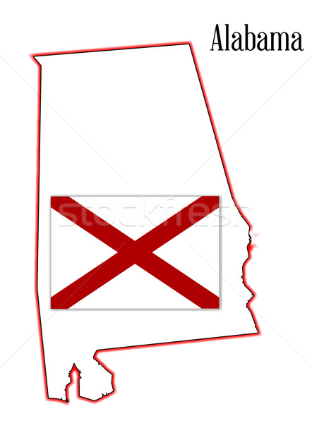 Alabama State Flag and Map Stock photo © Bigalbaloo
