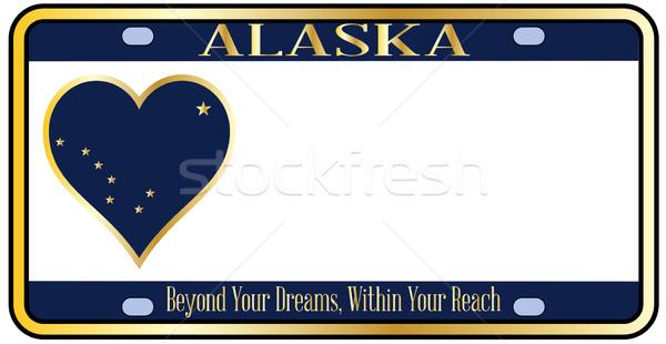Аляска номерной знак цветами флаг иконки белый Сток-фото © Bigalbaloo