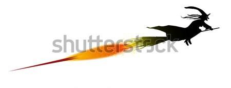 Voador bruxa silhueta foguete acelerar desenho Foto stock © Bigalbaloo