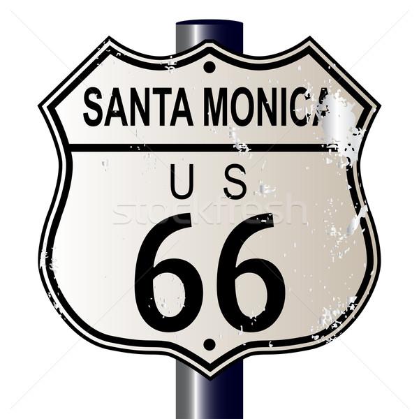 サンタクロース ルート66 にログイン 交通標識 白 伝説 ストックフォト © Bigalbaloo