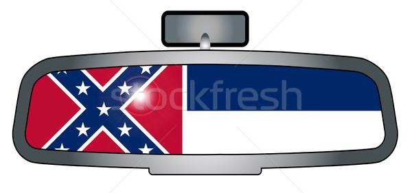 Sürücü Mississipi araç ayna bayrak Stok fotoğraf © Bigalbaloo