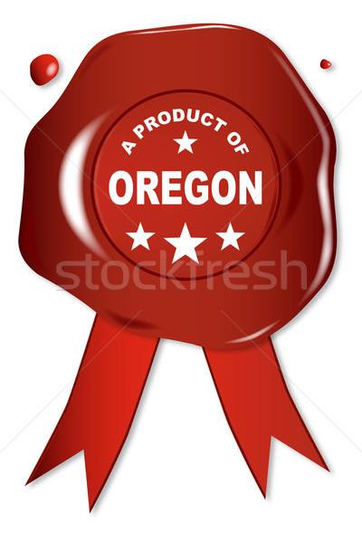 Termék Oregon viasz fóka szöveg piros Stock fotó © Bigalbaloo