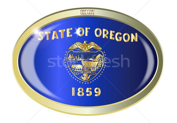 Stock fotó: Oregon · zászló · ovális · gomb · fém · izolált