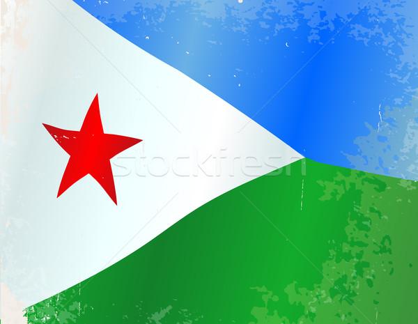 Dżibuti banderą grunge Afryki kraju Afryki Zdjęcia stock © Bigalbaloo