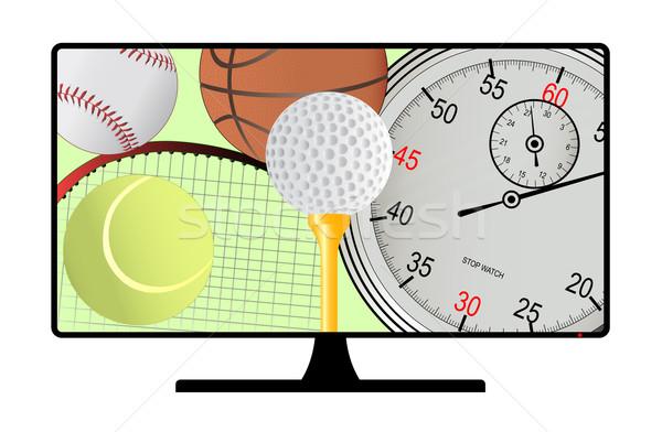 Sport kanaal tv computerscherm collectie sportartikelen Stockfoto © Bigalbaloo