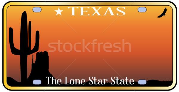 テキサス州 ナンバープレート 空 砂漠 図面 自動 ストックフォト © Bigalbaloo