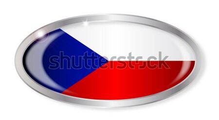 Çek Cumhuriyeti bayrak oval düğme gümüş yalıtılmış Stok fotoğraf © Bigalbaloo