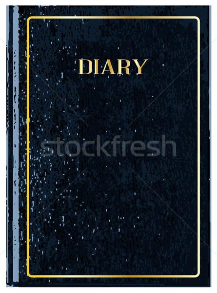 Fekete napló borító elöl bőr keret Stock fotó © Bigalbaloo