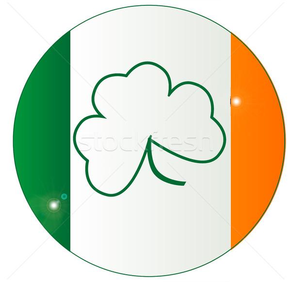 ír zászló shamrock gomb Írország szerencsés Stock fotó © Bigalbaloo