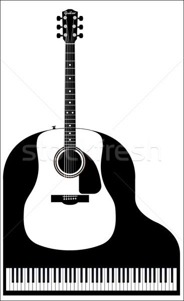 Zongora gitár felső kilátás hangversenyzongora szett Stock fotó © Bigalbaloo