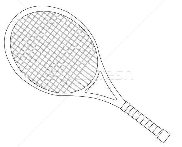 Racchetta da tennis contorno bianco verde palla esercizio Foto d'archivio © Bigalbaloo