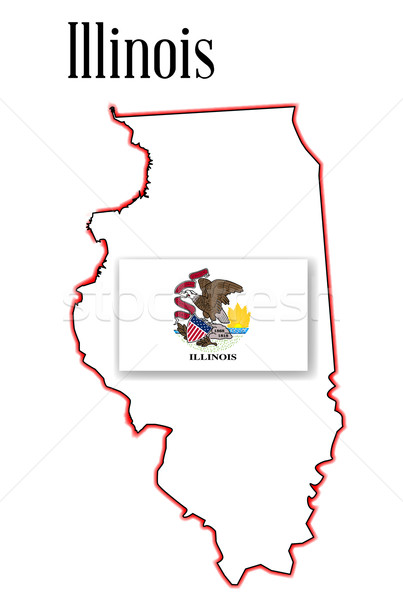Illinois State Map and Flag Stock photo © Bigalbaloo