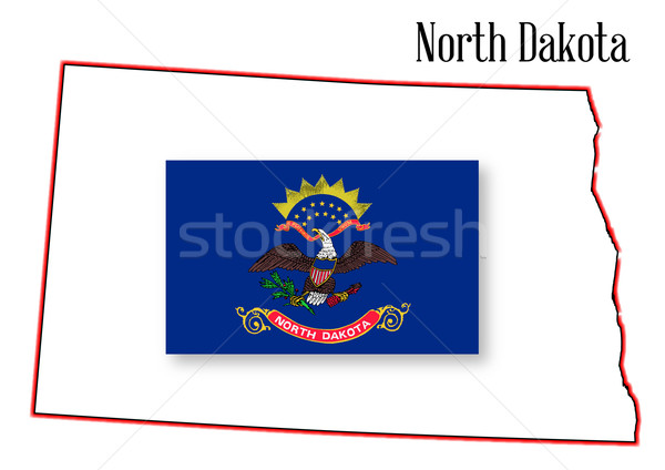 North Dakota kaart vlag schets geïsoleerd kunst Stockfoto © Bigalbaloo