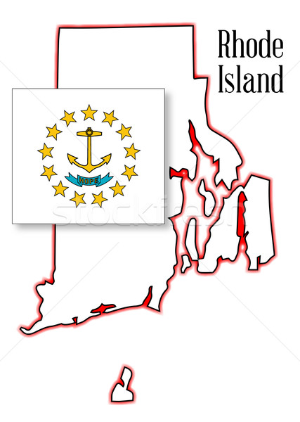 Rhode Island State Map and Flag Stock photo © Bigalbaloo