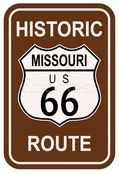 Missouri historique route 66 panneau de signalisation légende route Photo stock © Bigalbaloo