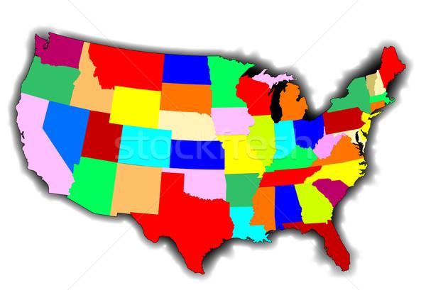 ABD yama işi harita Amerika stil Stok fotoğraf © Bigalbaloo
