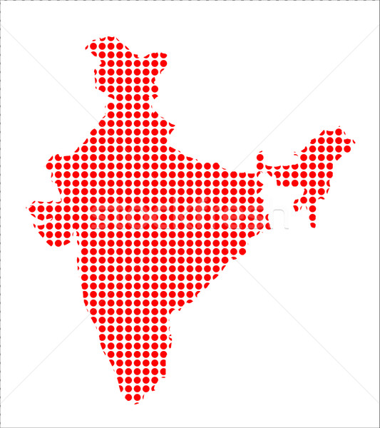 Red Dot Map of India Stock photo © Bigalbaloo