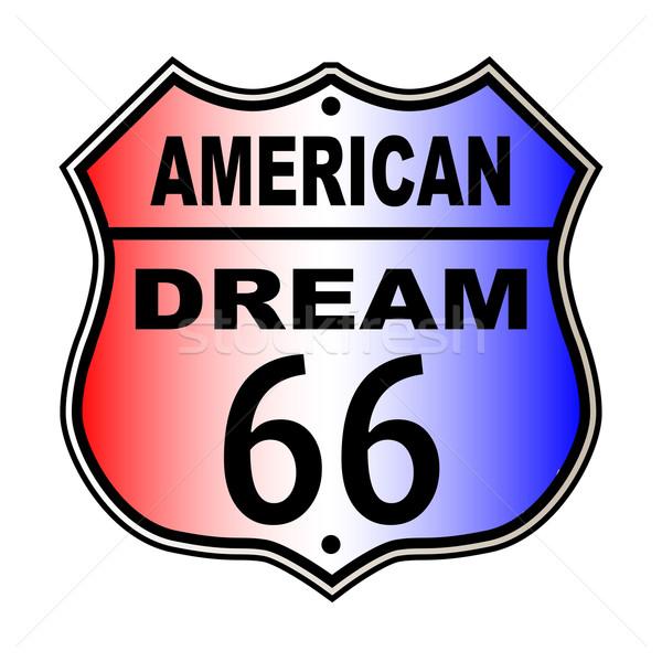 Amerikaanse droom route 66 teken verkeersbord witte Stockfoto © Bigalbaloo