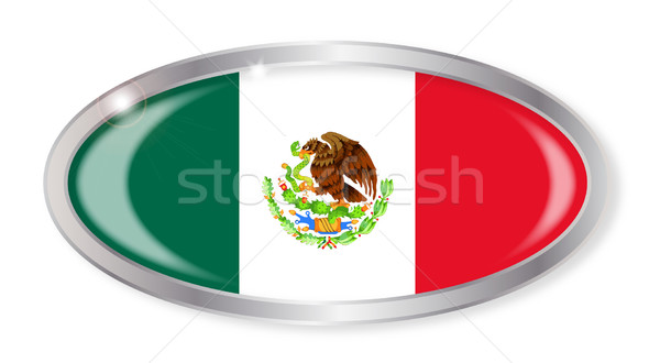 Мексика флаг овальный кнопки серебро мексиканских Сток-фото © Bigalbaloo