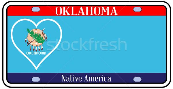 Oklahoma kentekenplaat kleuren vlag iconen witte Stockfoto © Bigalbaloo