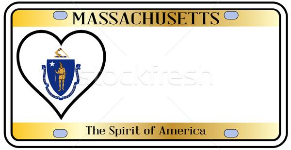 Массачусетс номерной знак цветами флаг иконки белый Сток-фото © Bigalbaloo