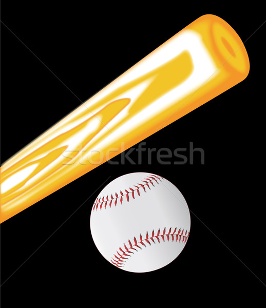 Taco de beisebol bola conjunto preto arte equipe Foto stock © Bigalbaloo