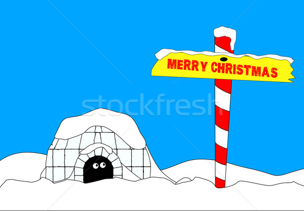 Merry Christmas North Pole Stock photo © Bigalbaloo
