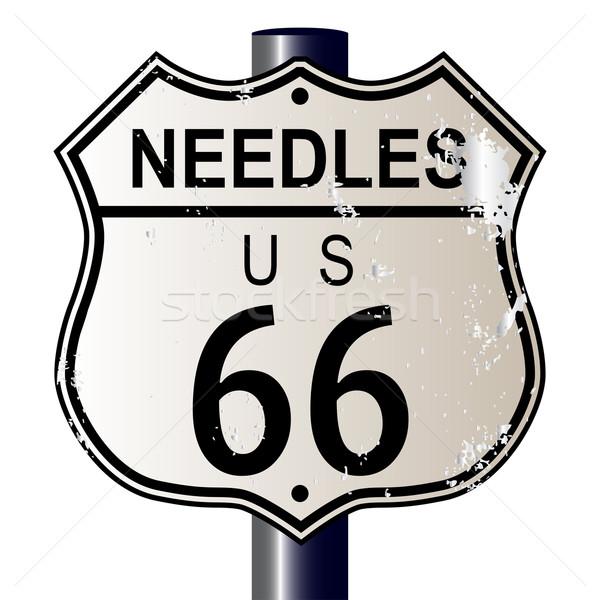 Route 66 assinar sinaleiro branco lenda Foto stock © Bigalbaloo