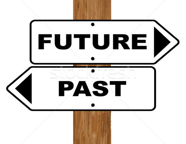 Jövő múlt feliratok fix fából készült pólus Stock fotó © Bigalbaloo