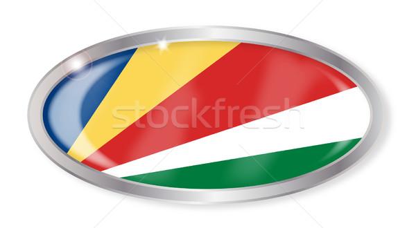 Seszele banderą owalny przycisk srebrny odizolowany Zdjęcia stock © Bigalbaloo