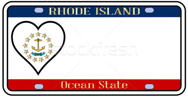 Rhode Island kentekenplaat kleuren vlag iconen witte Stockfoto © Bigalbaloo